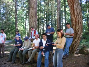 Field School Students writing down notes while sitting on wooden log