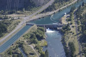 Overview of Seton Dam, fishway and power canal
