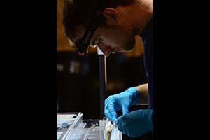 Nathan Furey implanting an acoustic transmitter into a sockeye salmon smolt